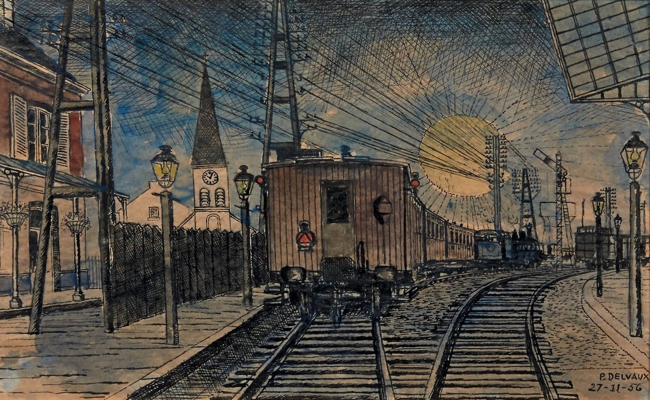 Paul #Delvaux ( 1897-1994 )  Train and railway station, 1956. https://t.co/8KWnGKu93b