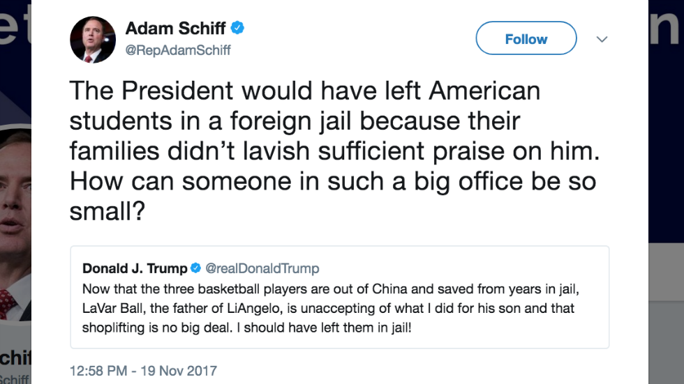 """Dem lawmaker rips Trump """"How can someone in such a big office be so small?"""""""