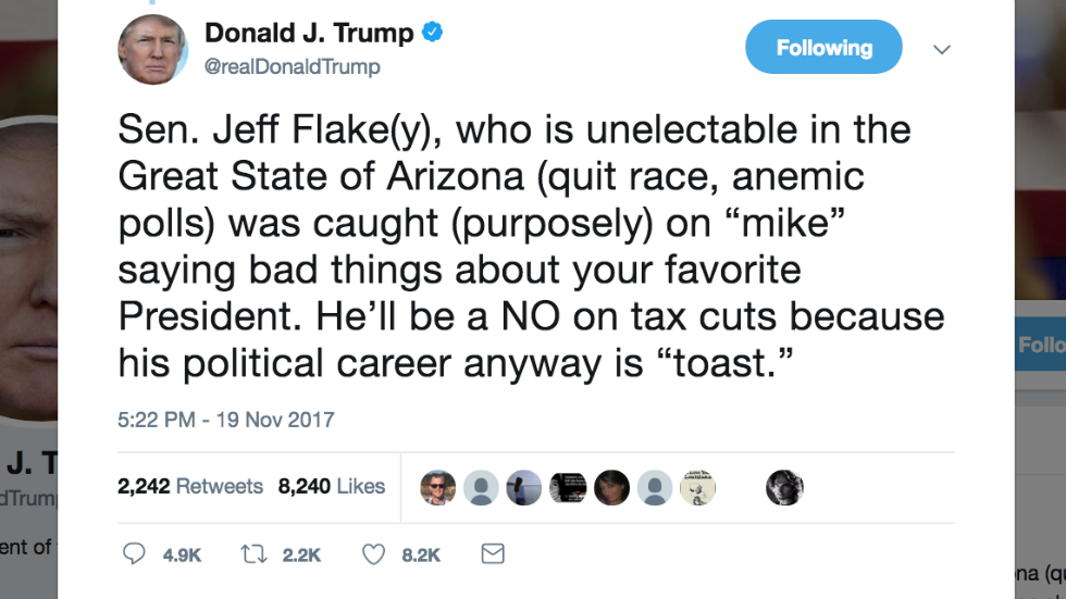 Trump goes after Flake for saying 'bad things' on hot mic about 'your favorite President' https://t.co/pQQ2RB409W https://t.co/PYveHI66Tc