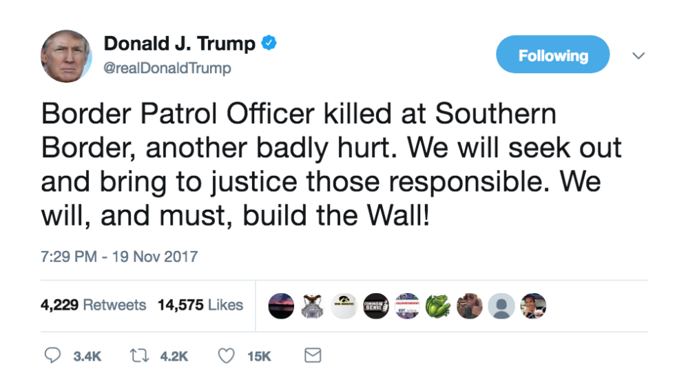 JUST IN Trump renews call for border wall after Border Patrol agent dies from injuries