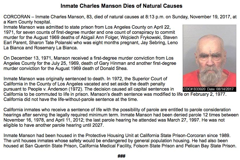 BREAKING: Charles Manson dead at 83, California prison officials confirm. https://t.co/O0pXTKDQ3y https://t.co/WJMhkXWPfZ