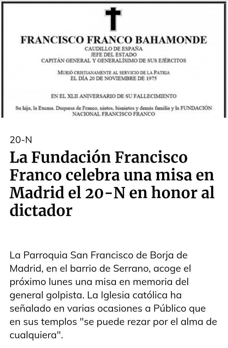 40 años estuvimos paseándole bajo palio y todavía hoy seguimos celebrando misas en nombre de este dictador asesino