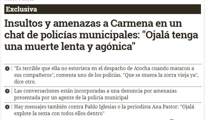 EXCLUSIVA | Insultos y amenaza carmena