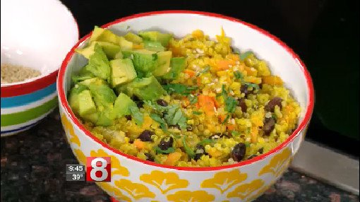 8 Minute Meals: sweet potato and carrot quinoa bowl