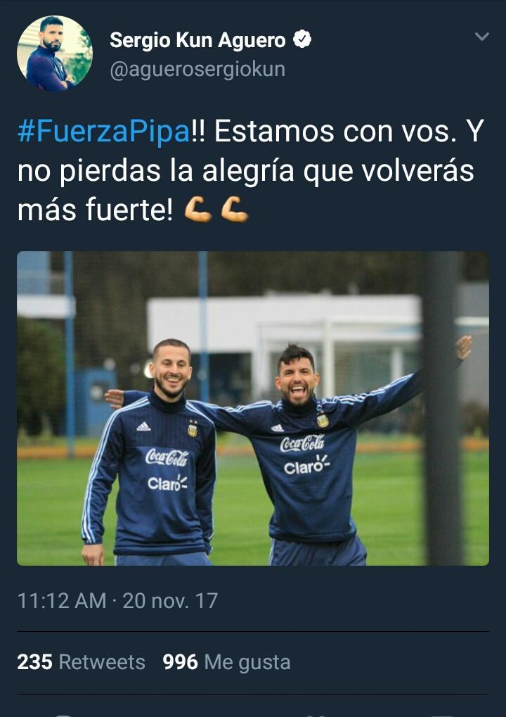 El delantero del @ManCity, @aguerosergiokun, se suma a los saludos de apoyo para el goleador Xeneize. #FuerzaPipa �� https://t.co/CjFvR7XP1E
