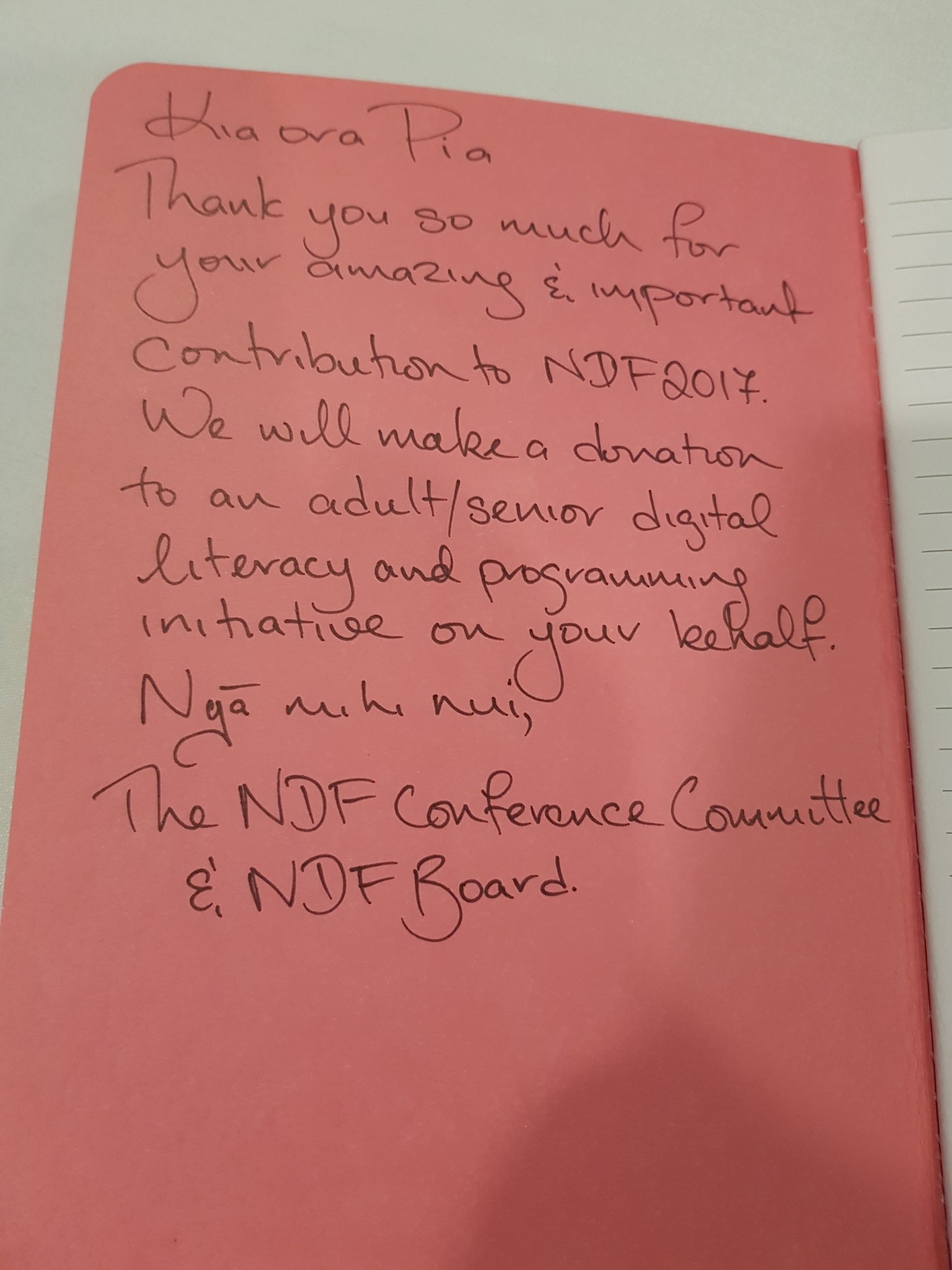 This is the best speaker gift I've ever been given. I hope all conferences consider this approach. It would really help people :) Thank you #ndfnz https://t.co/6wTb64kcWb