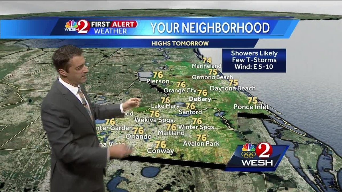 Showers likely, thunderstorms possible Tuesday