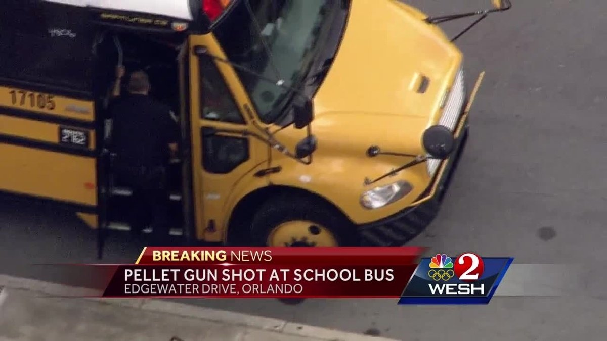 Pellet gun shots fired at school bus in Orlando, officials say