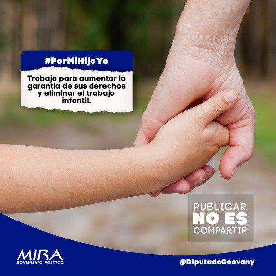 #PorMiHijoYo he trabajado con el @MovimientoMIRA y el doctor @Baena por construir un mejor país, por aumentar la garantía de sus derechos y eliminar el trabajo infantil https://t.co/BRbnuatAcb