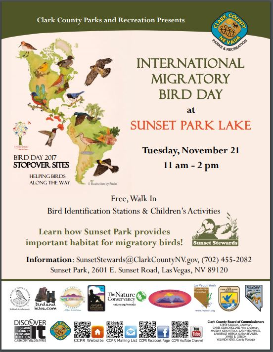 Weather should be great tomorrow - kids have the day off from school. Come out and enjoy this fun and educational event at Sunset Park Lake! #Vegas International #Migratory Bird Day. https://t.co/ERvijAwoTs