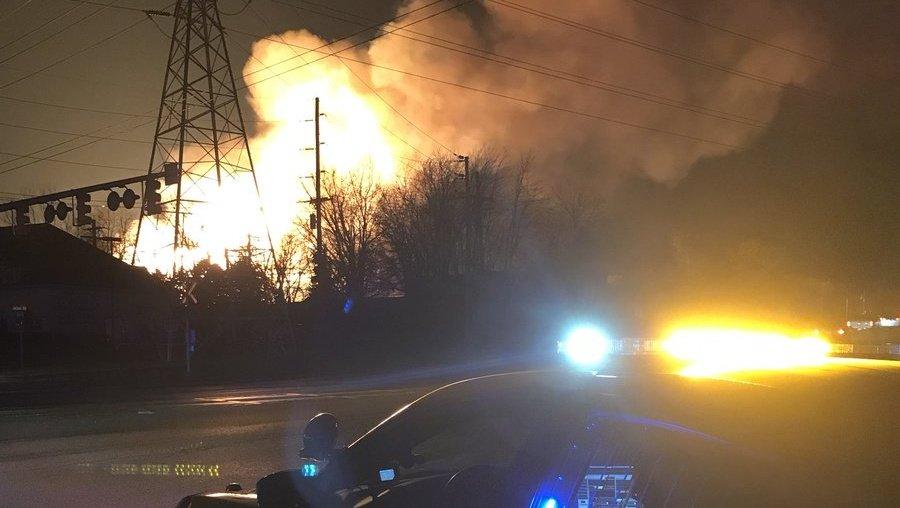 Crews battle massive blaze in Michigan