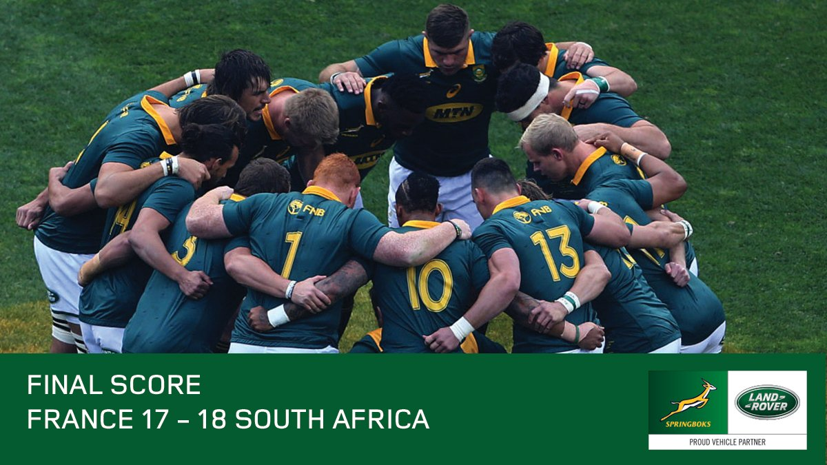 France 17 – 18 Springboks. In the face of the challenge, we showed courage, determination and strength of character. Congratulations @Springboks https://t.co/iu1iJPCmen