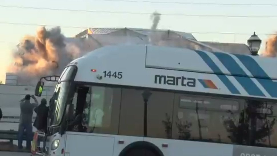 Watch an ill-timed bus completely ruin the Weather Channel's shot of an imploding stadium https://t.co/yL6ZAGxawN https://t.co/NwKbPezQBB