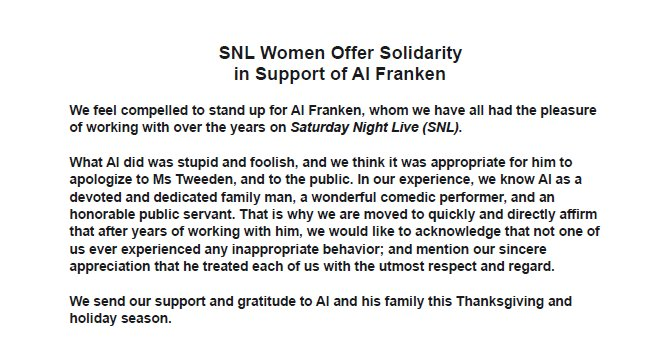 JUST IN: Women staff of 'Saturday Night Live' sign letter in support of Sen. Al Franken https://t.co/osN6IwMgvB