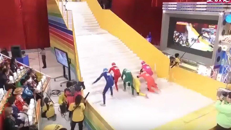 We need to start importing Japanese game shows like Slippery Stairs immediately: https://t.co/S7B2zgob0h https://t.co/YVkjgd16n2