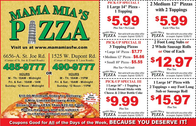 Save on dinner tonight! Order from Mama Mia's Pizza! https://t.co/YjcQgG8rO8 #CouponsFW https://t.co/by0RB4b7WL