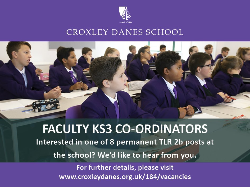 Eight permanent curriculum middle leaders are required for Croxley Danes School - a fantastic opportunity help shape the school for its first cohorts of students. Details: https://t.co/er8hDOA6zm https://t.co/TlYQjVJ3FA