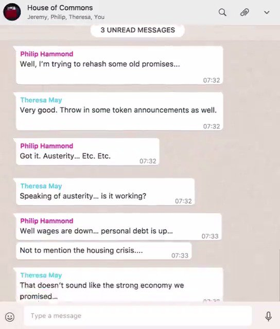 Meanwhile, in the House of Commons group chat...  #Budget2017 https://t.co/oW4GuRaAWn