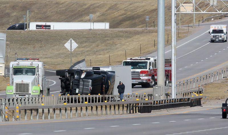 Wind gusts top 60 mph, trucks topple on I-25