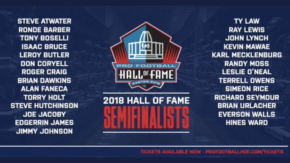 The 27 semi-finalists for the Pro Football Hall of Fame, Class of 2018