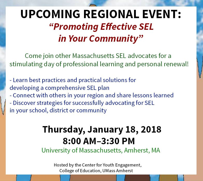 test Twitter Media - Learn the best practices/ practical solutions for developing a comprehensive SEL plan, assess the state of SEL in your community & more! Thursday, January 18, 2018, 8:00 AM–3:30 PM - University of Massachusetts, Amherst, MA.  Get tix here: https://t.co/kb0Fh43DVY https://t.co/Vp3yKxhNbQ