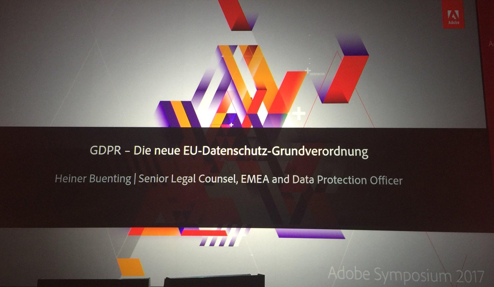 Die neue EU Datenschutz-Grundverordnung aus dem Blickwinkel  #DigitalMarketing, #Analytics und der #Personalisierung @ #AdobeSymp #tsmms #GDPR https://t.co/MnJ6cvDa0J