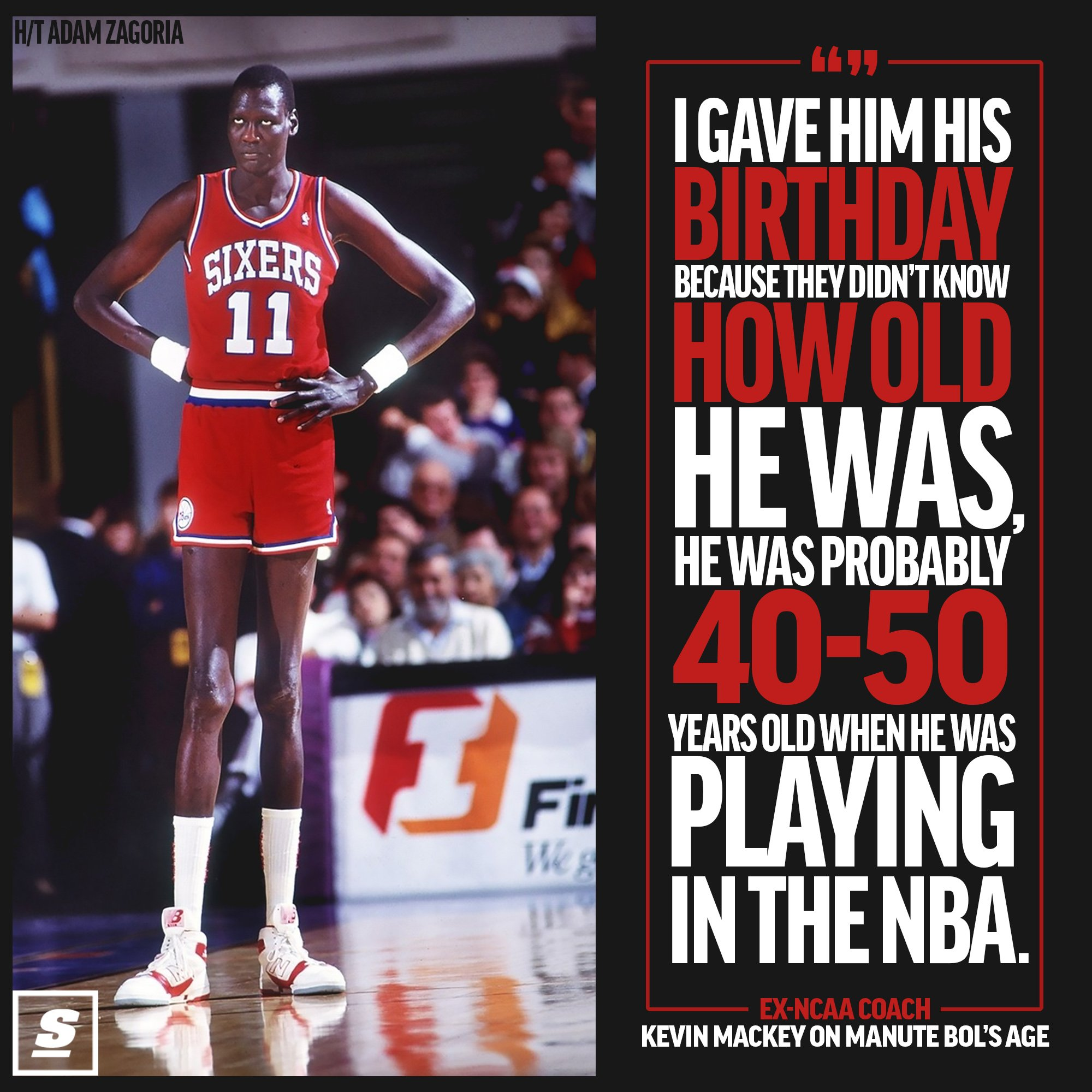 Manute Bol may have been a little older than 23 when he began his NBA career. https://t.co/Tv2vQby6gZ https://t.co/n3bZKjKdCC