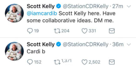 Astronaut Scott Kelly wants to link up and build with @iamcardib. https://t.co/cvwcyKFRwg https://t.co/KaqoxXNrlE