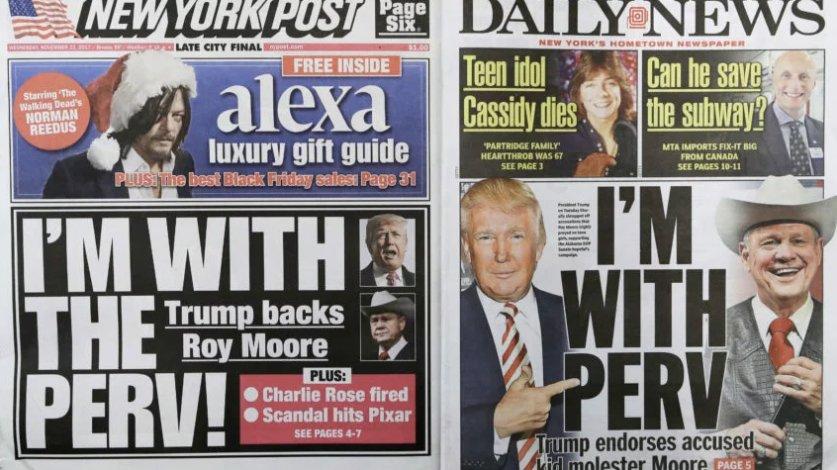 The NY Post and NY Daily News had nearly identical Trump-Roy Moore cover headlines