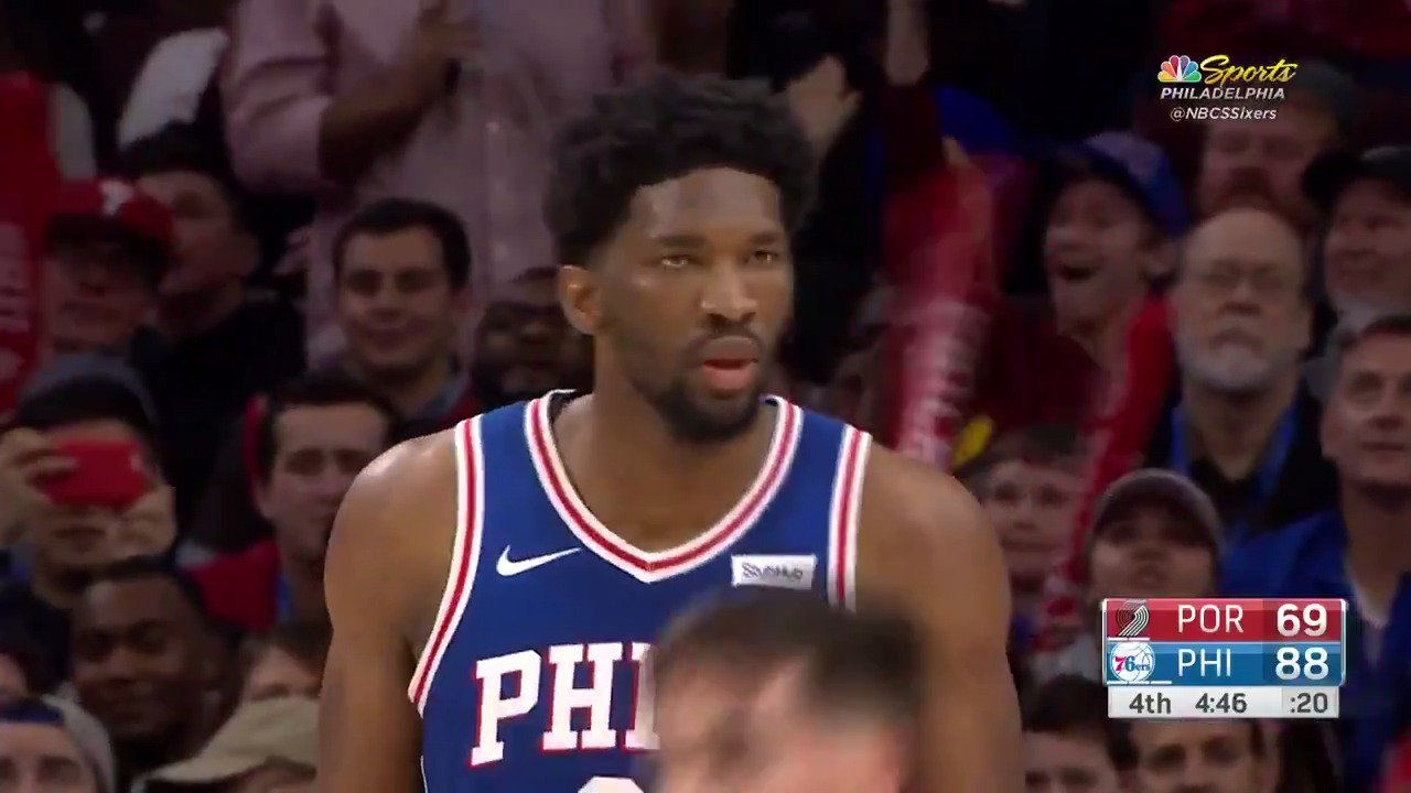 The sky hook from Embiid! #HereTheyCome https://t.co/7RvszirVSC