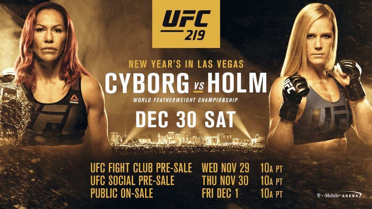 #UFC219 �� go on sale NEXT WEEK!   Pre-register for @CrisCyborg vs @HollyHolm NOW ➡️ https://t.co/Z1zv3QdVgT https://t.co/7IWRu6VxeF