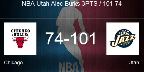 NBA Utah Alec Burks 3PTS / 101-74 https://t.co/n7duJGwVj3