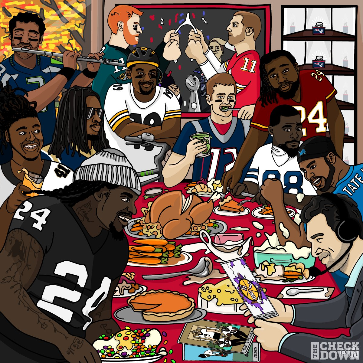 Family, friends, food ... and ��!  Happy Thanksgiving!  (via @thecheckdown) https://t.co/nGI88eo7MN