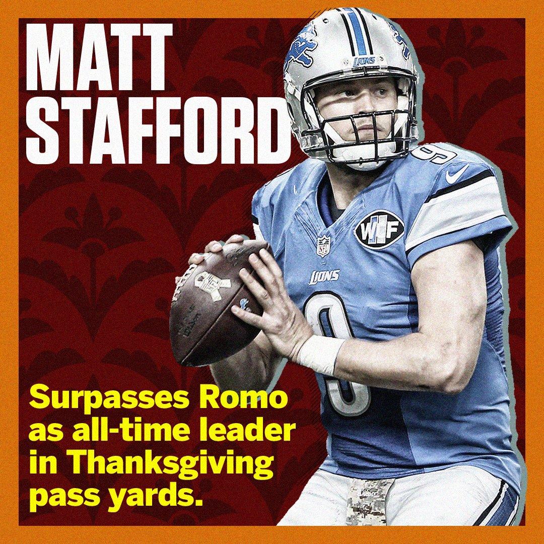 Step aside, Tony Romo.  It's Matt Stafford who's serving it up on Thanksgiving. https://t.co/eGoJzFnzm2