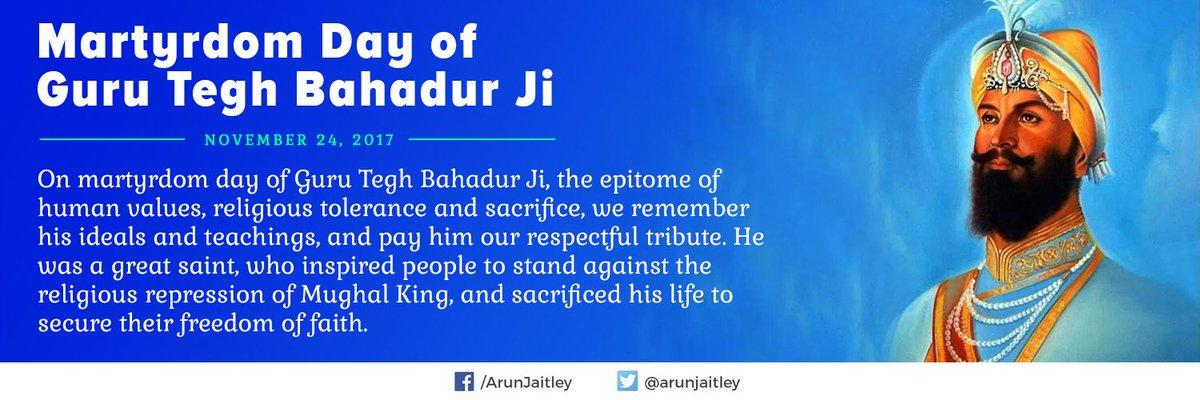 Respectful tributes to #GuruTeghBahadur Ji on his martyrdom day