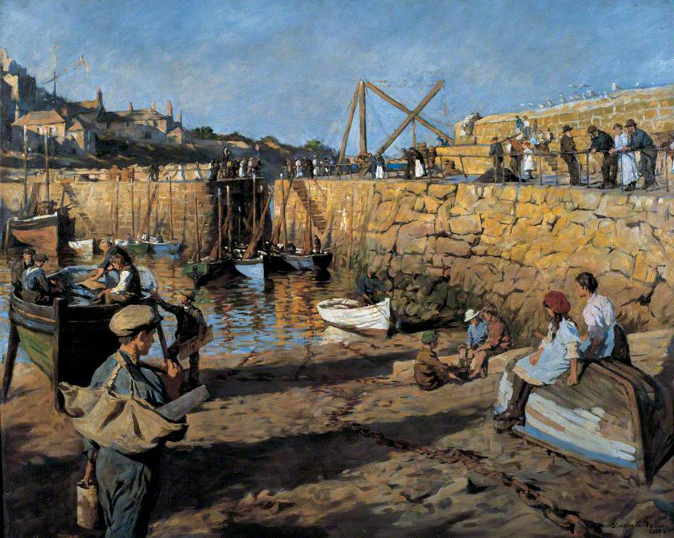 RT @DrLivGibbs: Fitting Out, Mousehole Harbour, Cornwall by Stanhope Alexander Forbes 1919 (@BradfordMuseums). https://t.co/2yfu4Eu9v7