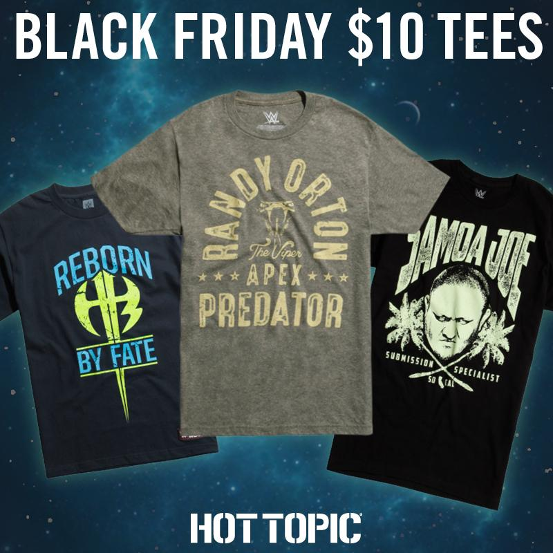Can't get enough @WWE tees?! @HotTopic got the #BlackFriday hookup:  https://t.co/tJCvA5kkKT https://t.co/OOP2AcYw2V