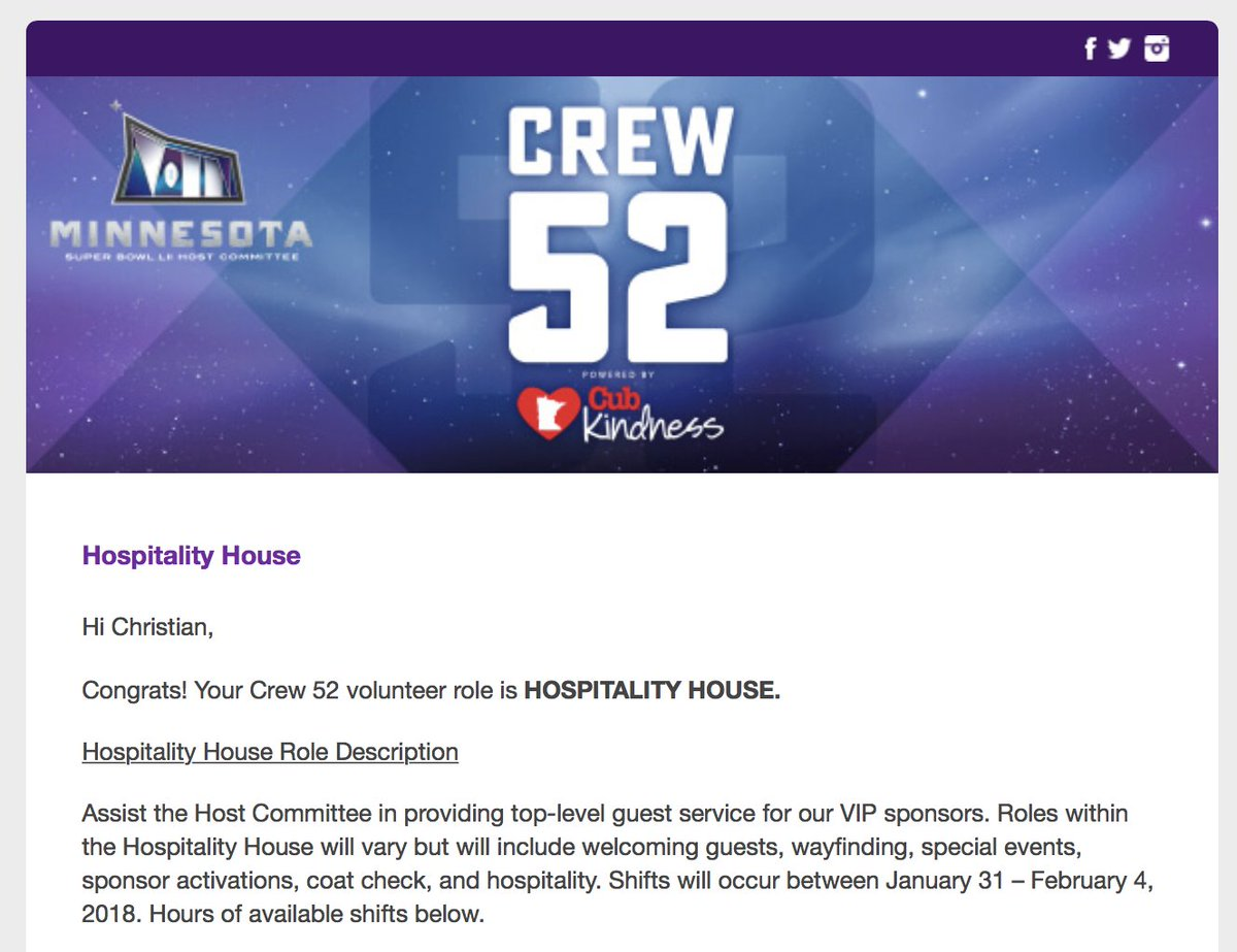 Just got my #SuperBowl #Crew52 assignment: @MNSuperBowl2018 Hospitality House! Can't wait to make MN shine for #SBLII VIP sponsors. #BoldNorth https://t.co/DvlIi3Tf5Z
