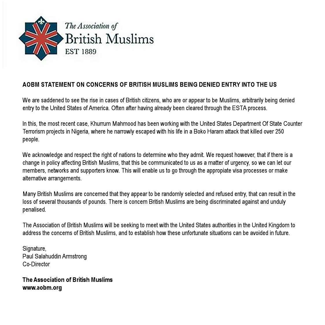 RT @aofbm: AoBM Statement on Concerns of British Muslims Being Denied Entry into the US https://t.co/AKDeo6ZDfb