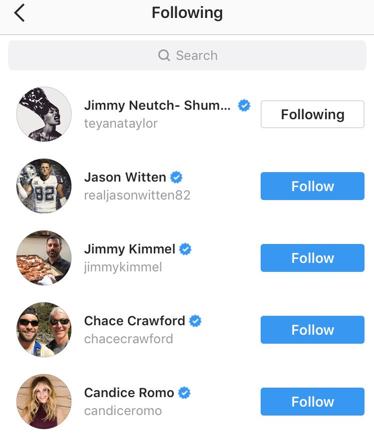 RT @KarenCivil: Tony Romo follows only 5 people on IG.. and @TEYANATAYLOR is one lol https://t.co/CKRgZGSdRy