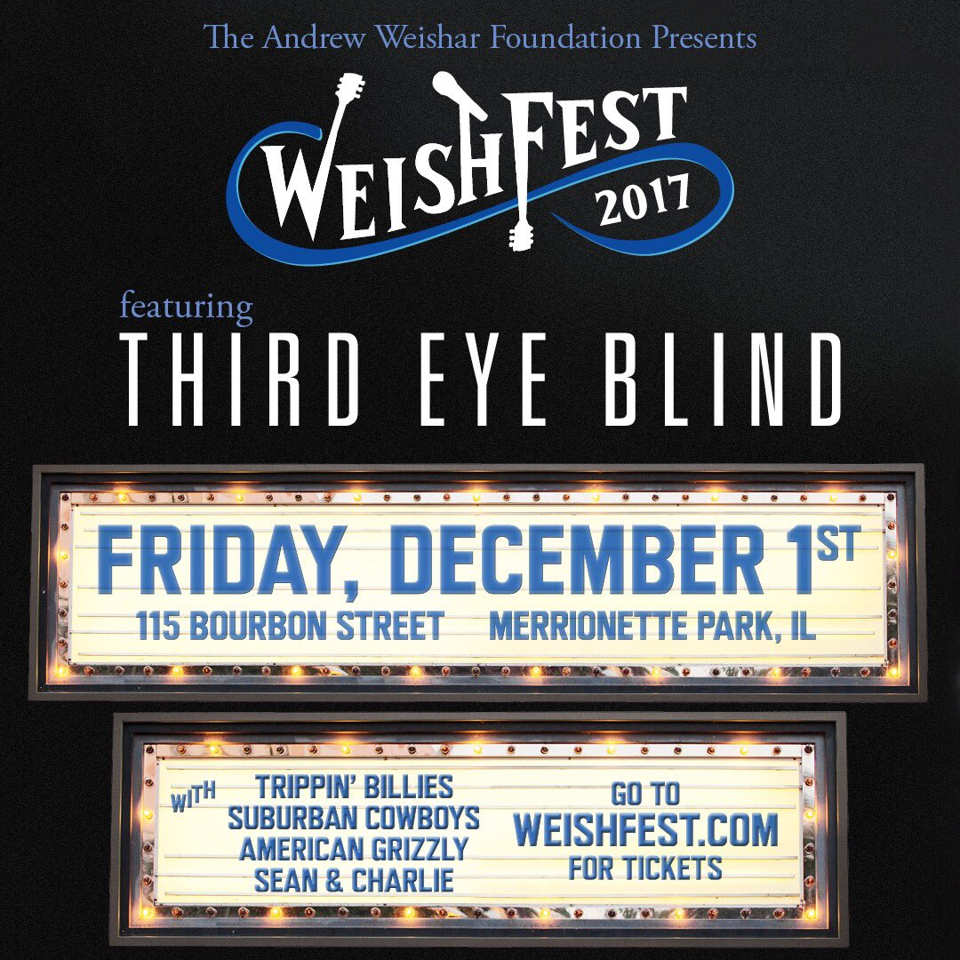 Hey Chicago! Come out and support a great cause next Friday Dec 1st at @weishfest with @weish4ever!All proceeds go to families battling cancer. @thirdeyeblind is headlining and it's sure to be an event you don't want to miss.Can't go? Donate at https://t.co/2DCAKo3pA3 #weishfest https://t.co/go5FihezFx