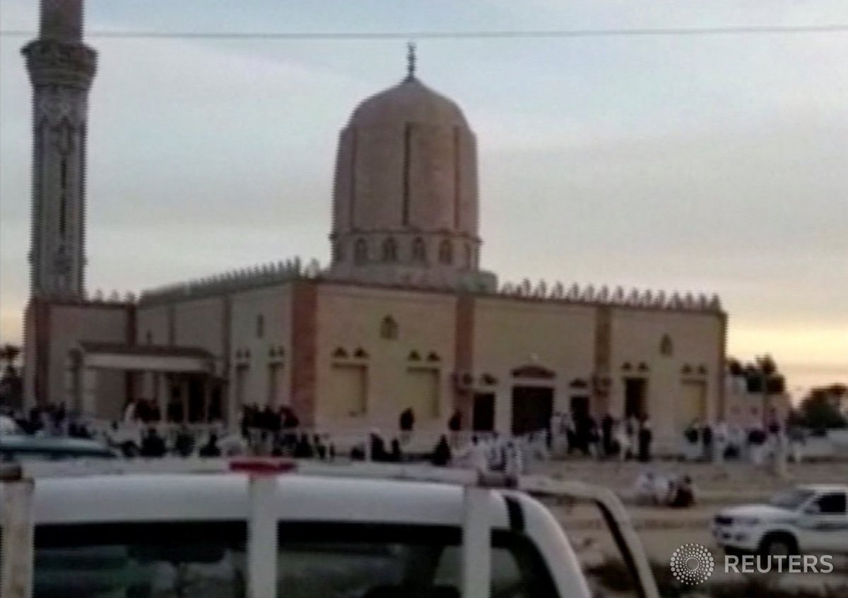 Egypt's military carries out air strikes in area of Sinai mosque attack: security sources.