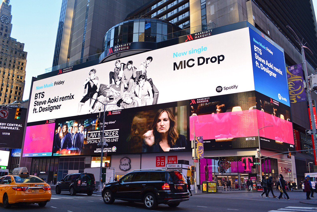 Spotted in NYC! @spotify NMF Billboard. :) Listen to new track MIC Drop remix on https://t.co/SMJQLt9San now! https://t.co/KqyOSi0LWx