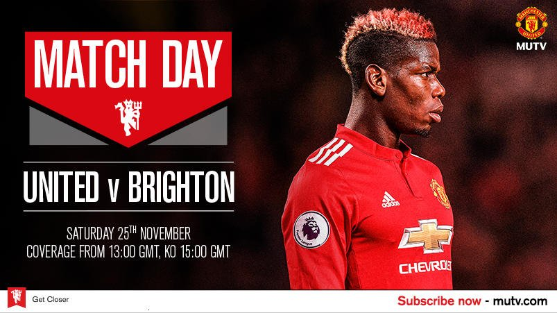 #MUTV's coverage of #MUFC v Brighton starts at 13:00 GMT - subscribe now! https://t.co/fxV74c8Ch8 https://t.co/7OT66HoOMA