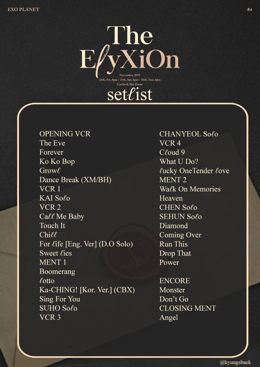 RT @CRAYE0LA: #EℓyxionInSeoul setlist  the sequence, the songs, it's all so perfect 😍😍😍 https://t.co/ye9OetUIld