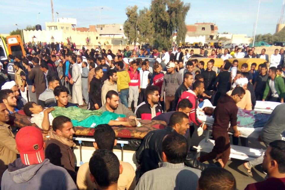 Attackers carried ISIS flags as they massacred more than 300 people in an Egyptian mosque