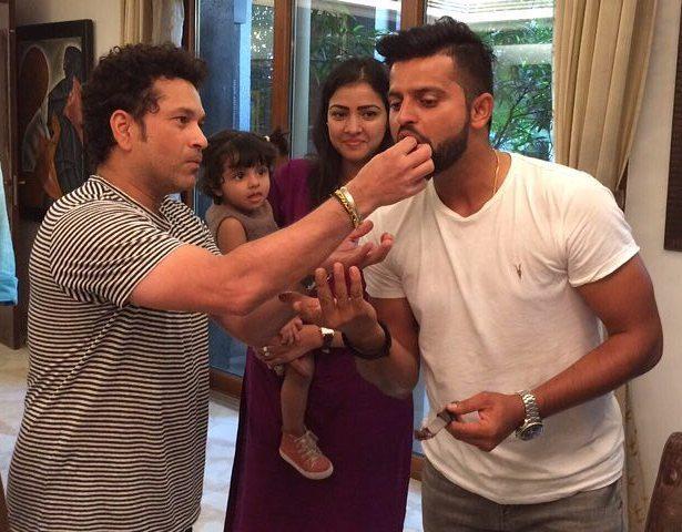 Happy Birthday Suresh Raina! Suresh Raina Celebrating his Birthday with Sachin Tendulkar!