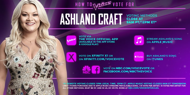 Vote @AshlandCraft #TeamMiley #VoiceTop10!!! https://t.co/rCTinqx8bA