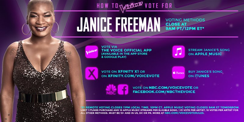 i am beyond proud! performance of the night already!  @janice_freeman!!! vote for her now! ✨ #TeamMiley https://t.co/BgCQc8NZZc
