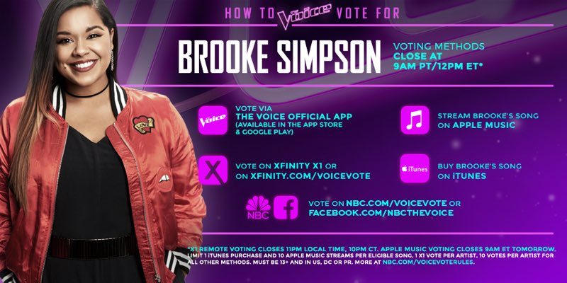 #VoiceTop11 #TeamMiley vote @brookesimpson!! https://t.co/45HBktQDnL